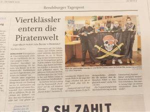 """Zeitungsartikel über eine Lesung aus dem Kinderbuch """"Der Schatz ders Arabers - Zeitreise zu Störtebeker"""" in der Rendsburger Tagespost."""