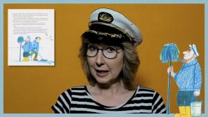 """Ein Screenshot von Julie Bender aus dem Elbautoren-Video """"Volle Fahrt voraus!"""""""